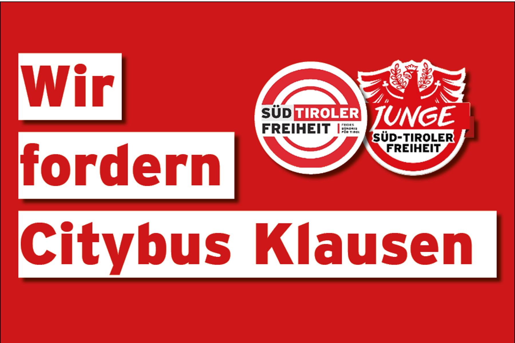 Citybus KlausenSüd-Tiroler Freiheit kündigt Info-Stand an