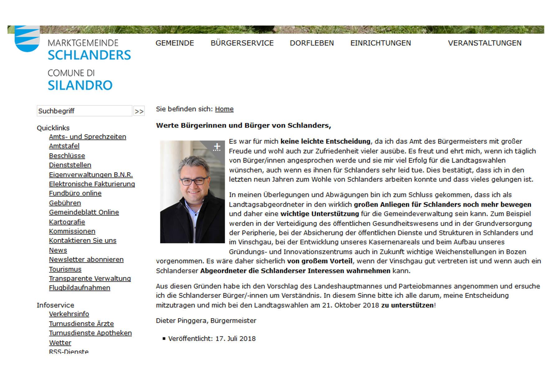 EklatPersönlicher, parteipolitischer Wahlaufruf des SVP-Bürgermeisters Pinggera