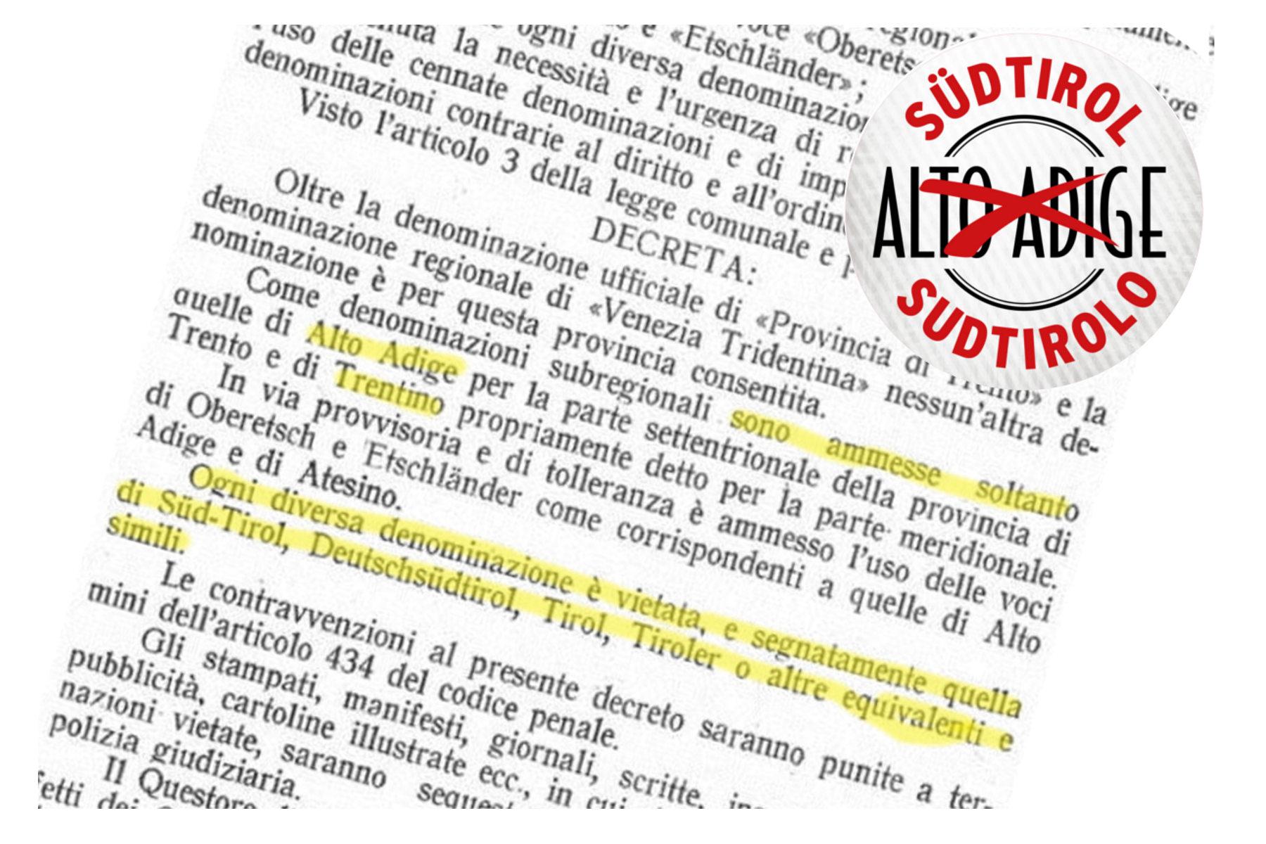 """Einführung von """"Südtirol"""" und """"Sudtirolo""""Verbot des Namens """"Tirol"""" vor 95 Jahren"""