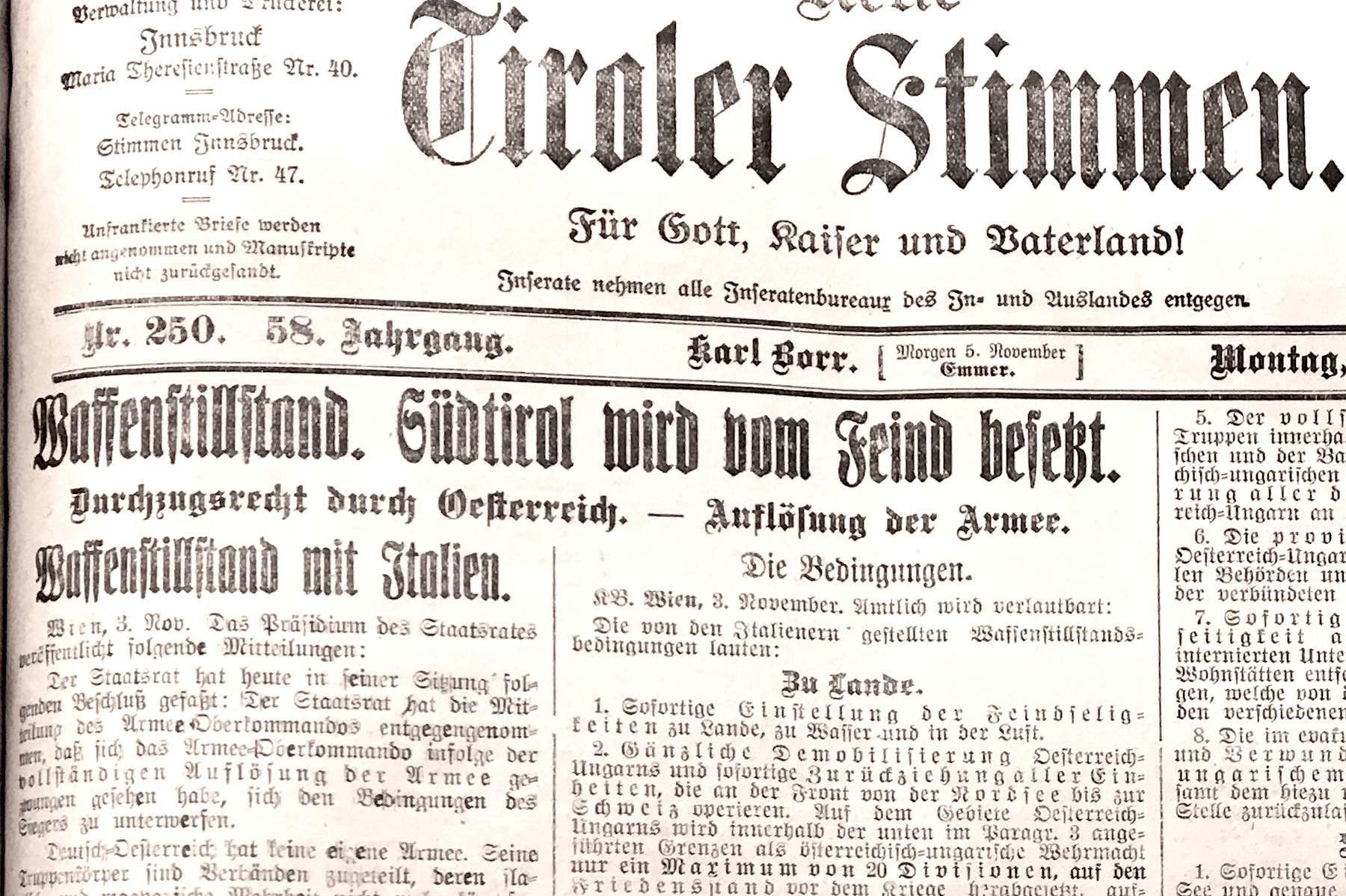 11. November 1918:100 Jahre Fremdbestimmung.